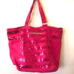 Victoria's Secret Pink Striped Sequin Tote Bag